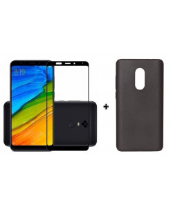 Бампер + 3D стекло Xiaomi Redmi 5 – Black (Комплект)