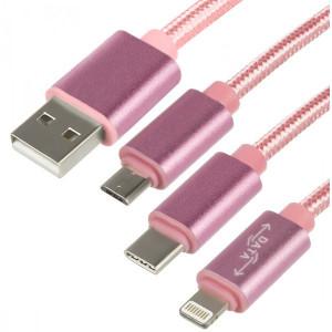 USB Кабель Micro USB King Fire DM-015 Lightning Type-C – 1 м (Розовый)