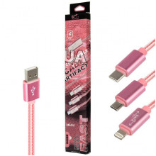 USB Кабель Micro USB King Fire DM-015 Lightning Type-C – 1 м (Розовый)